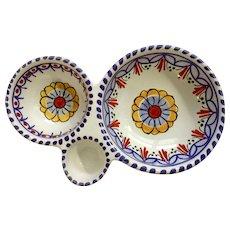 Ceramica Puente Hand Painted Spain Ceramic 3 Section Condiment Bowl Floral Design