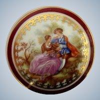 Limoges France Covered Porcelain Trinket Box Dish with Fragonard Pattern