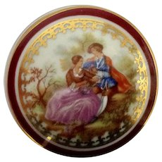 Limoges France Covered Porcelain Trinket Box Dish with Fragonard Pattern