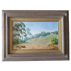 Anthony (Tony) P. Menditto (1922-2007), 'Murrieta California' Rural White Fence Plein Air Landscape Oil Painting Signed by Artist