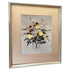 Marion Valentine, 'Summer Flowers' Bouquet of Wildflowers with Blue Butterfly Original Wax Resist Watercolor Painting Signed by Tubac, Arizona Artist