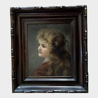Portrait of Victorian Young Lady 19th Century American Oil Painting Unsigned