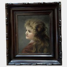 Portrait of Victorian Young Lady 19th Century American Oil Painting on Board Unsigned