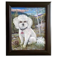 David V Gonzales, Dinky the White Poodle Dog Portrait Acrylic Painting on Canvas Signed by Artist