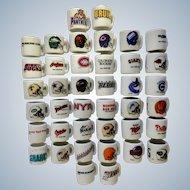 40 Miniature White Porcelain NHL Hockey, NFL Football and NLBP Baseball Sports Emblem Cups Group