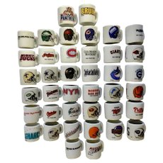 40 Miniature White Porcelain NHL Hockey, NFL Football and NLBP Baseball Sports Emblem Cups Group