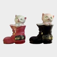Kitten Cats in Boots Salt and Pepper Shakers Rhinestone Eyes