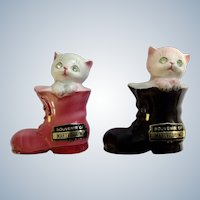 Kitten Cats in Boots Salt and Pepper Shakers Rhinestone Eyes Porcelain Souvenir of Maryville, Missouri S&P Figurine