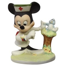 Vintage Minnie Mouse Nurse Figurine Walt Disney Productions Bisque