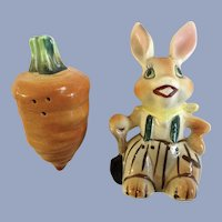 Farmer Bunny Rabbit with Huge Carrot Salt and Pepper Shakers Porcelain S&P Figurines Japan