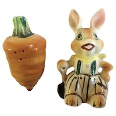 Bunny Rabbit with Huge Carrot Salt and Pepper Shakers Porcelain S&P Figurines Japan