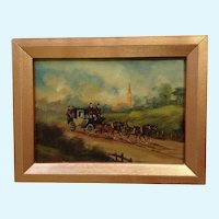 Roberta Vitemi, European Stagecoach In English Countryside Oil Painting