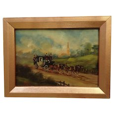 Roberta Vitemi, European Stagecoach In English Countryside Oil Painting on Copper Plate Signed by Artist