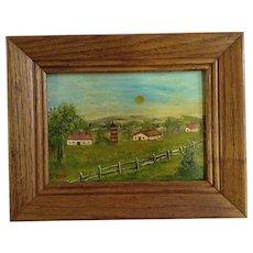 Torr, Primitive Folk Art Farm Countryside Landscape Oil Painting Signed by Artist