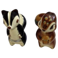 Burke Robert Simmons California Pottery Skunk Pewey #2025 and Squirrel Nutsy #2031 Figurines