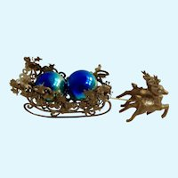 Mid-Century Christmas Mantel Gold Sleigh with Reindeer and Blue Green Mercury Ornaments