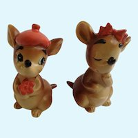 Mr and Mrs Kangeroo Vintage Lefton Salt and Pepper Shakers H2823 S&P Figurines