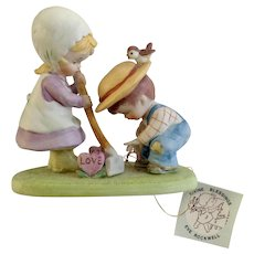 Eve Rockwell's Divine Blessings George Good Growing seeds of kindness Sprouting Candy Valentine Hearts Porcelain Figurine