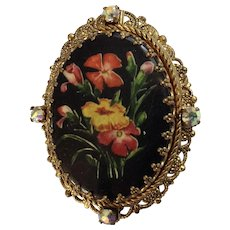Vintage Floral Brooch Pin with Gold-Tone Filigree