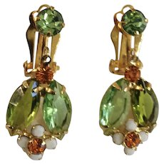 Green Leaves with White and Orange Flowers Dangling Clip-On Earrings with Crystal Rhinestones