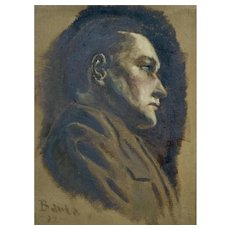 Rough Cut Canvas Only Alvin Barta (1902-1978), 1920's Figural Portrait of a Man Oil Painting on Canvas Signed by Colorado Artist