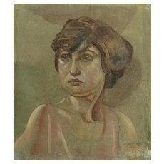 Alvin Barta (1902-1978), Women Figural Portraits Oil Paintings on Single Canvas Signed by Colorado Artist Rough Cut Canvas Only