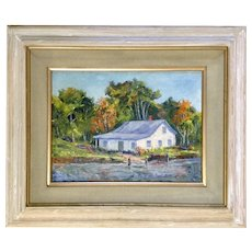 Anthony (Tony) P. Menditto (1922-2007), 'Signed of Fall' Indian River Clinton, Connecticut Landscape Oil Painting Signed by Artist