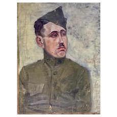 Rough Cut Canvas Only Alvin Barta (1902-1978), 1920's Figural Portraits of Men, Soldier and Judge Oil Paintings on Canvas Signed by Colorado Artist