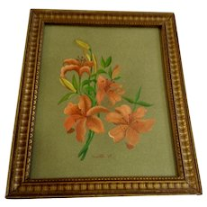 Monetta, Orange Tiger Lily Floral Still Life Gouache Watercolor Works on Paper 1969 Signed By Artist