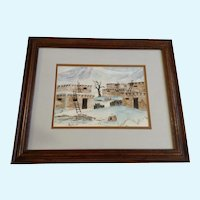 Robertson Snow Covered Indian Pueblos Watercolor Painting Signed by Artist