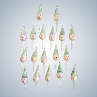 Vintage Smiling Circus Clown Heads with Green Striped Hats Birthday Cupcake Picks Cake Toppers 18 Pieces