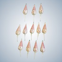 Vintage Birthday Circus Clown Heads with Red Striped Hats Cupcake Picks Cake Toppers 12 Pieces