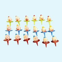 Vintage Cupcake Picks Smiling Circus Clown Heads Cake Toppers 18 Pieces