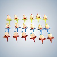 Vintage Cupcake Picks Smiling Circus Clown Heads Red, Blue and Yellow Cake Toppers 18 Pieces