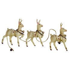 3 Mid-Century Plastic Gold Glitter Christmas Reindeer Deer Figurines Made in Japan