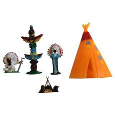 Indian Chief Tepee Campfire Cake Toppers Mid-Century Plastic Cupcake Picks