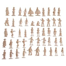 Mid-Century Vintage Pink People Figurines Birthday Cake Cupcake Toppers Indians, Clowns, Girls and Children 1-1/2 Inches