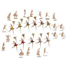 29 Ballerina & Dancers Cake Cupcake Toppers Mid-Century Set