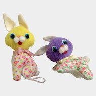 Mid-Century Easter Bunny Rabbits Stuffed Animal Plush Made in Japan