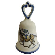 Louisville Stoneware Jockey Horse Racing Kentucky Derby 1970's Pottery Bell
