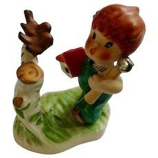 Goebel W Germany Redheaded Boy with Birds Titled, 'Springtime' TMK-5 (1972-1979) Porcelain Figurine