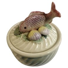 Fitz & Floyd Fishes, Cream Soup Bowl with Lid and Clam Shells FF Ironstone 15oz