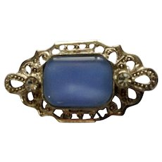Baby Blue Glass Silver-tone Pin with Faux Diamonds Small Brooch