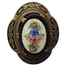 Vintage Hand Painted Porcelain Floral Design Pin Brooch
