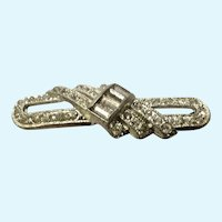 Vintage Rhinestone Faux Diamond Silver-tone Pin Brooch
