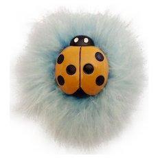 Godiva Chocolates Candy Orange Ladybug Blue Feather Ornament Retired Springtime Magnet