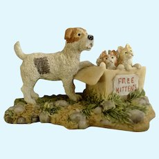 Lowell Davis RFD America Figurine Schmid / Border Fine Arts  96906 Free Kittens, Retired Terrier Dog with Box of Kittens