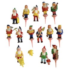 Vintage J P Denton Gnome Elves Music Band & Gardener Cake Toppers Cupcake Picks Birthday Candle Holders Made in Hong Kong Set 14