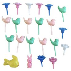 Mid-Century Little Bird, Flowers Cake Toppers Cupcake Picks Candle Holders 22 Group