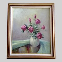 French, Pink Roses Floral Still Life Original Oil Painting On Board Signed